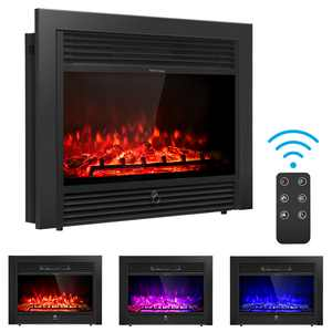 "Costway 28.5"" Fireplace Electric Embedded Insert Heater Glass Log Flame Remote"
