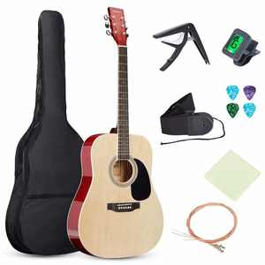 Guitar SKONYON Guitar 41-inch all-Wood Acoustic Guitar Starter  Level Kit w/Gig Bag, E-Tuner, Pick, Strap, Rag - Natural