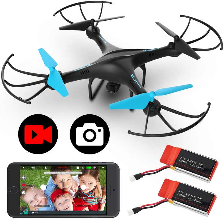 Force1 Blue Jay U45WF FPV Camera Drone, Wifi 720p VR RC Drone for Kids and Adults (Black and Blue)