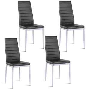 Costway Set of 4 PU Leather Dining Side Chairs Elegant Design Home Furniture Black Contemporary