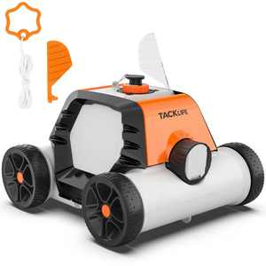 TACKLIFE Cordless Robotic Pool Cleaner with 2 pcs Motors For Pool, Up To 860 Sq.Ft - HJ1103J (Orange)