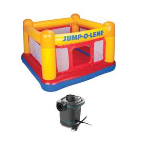 Intex Inflatable Ball Pit Bounce House with 120V Quick Fill AC Electric Air Pump