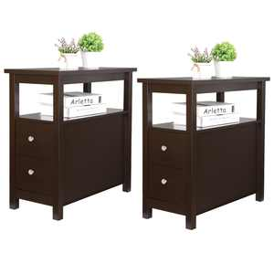 Set of Two Parlor Furniture Chairside End Table Bedroom Living Room Nightstand Storage