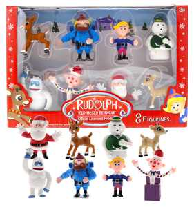 Rudolph the Red Nose Reindeer Miniature Christmas Figurines, 8 Piece Set  Includes 2 Inch Plastic Mini Figurines of Rudolph, Hermey, Bumble and More  Ideal for Playtime and Holiday Decorating