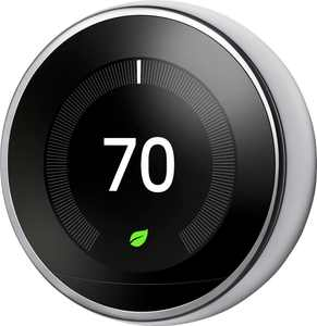 Google - Nest Learning Smart Wifi Thermostat - Stainless Steel