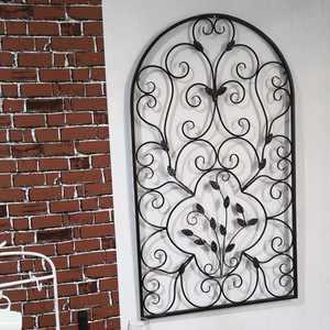 Zimtown Semi-Circular Retro Decorative Spanish Arch Wall Hanging Art Window Arch Design Leaf Shape Iron Ornament