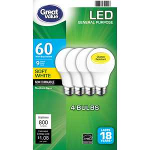 Great Value LED Light Bulb, 9 Watts (60W Equivalent) A19 General Purpose Lamp E26 Medium Base, Non-dimmable, Soft White, 4-Pack