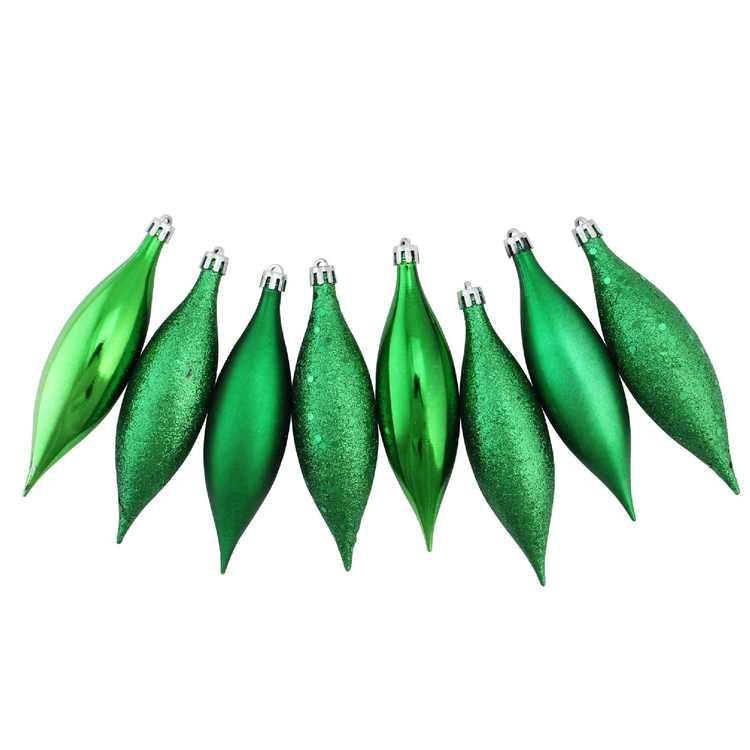 "8ct Xmas Green Shatterproof 4-Finish Christmas Finial Drop Ornaments 5.5"""