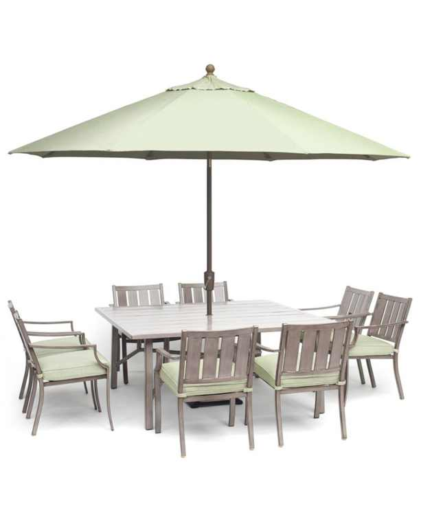 "Wayland Outdoor Aluminum 9-Pc. Dining Set (64"" Square Dining Table & 8 Dining Chairs) with Sunbrella Cushions, Created for Macy's"