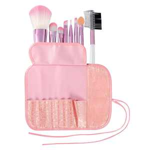 Zodaca 8 pcs Makeup Brushes Kit Set Powder Foundation Eye shadow Eyeliner Lip with Pink Cosmetic Pouch Bag