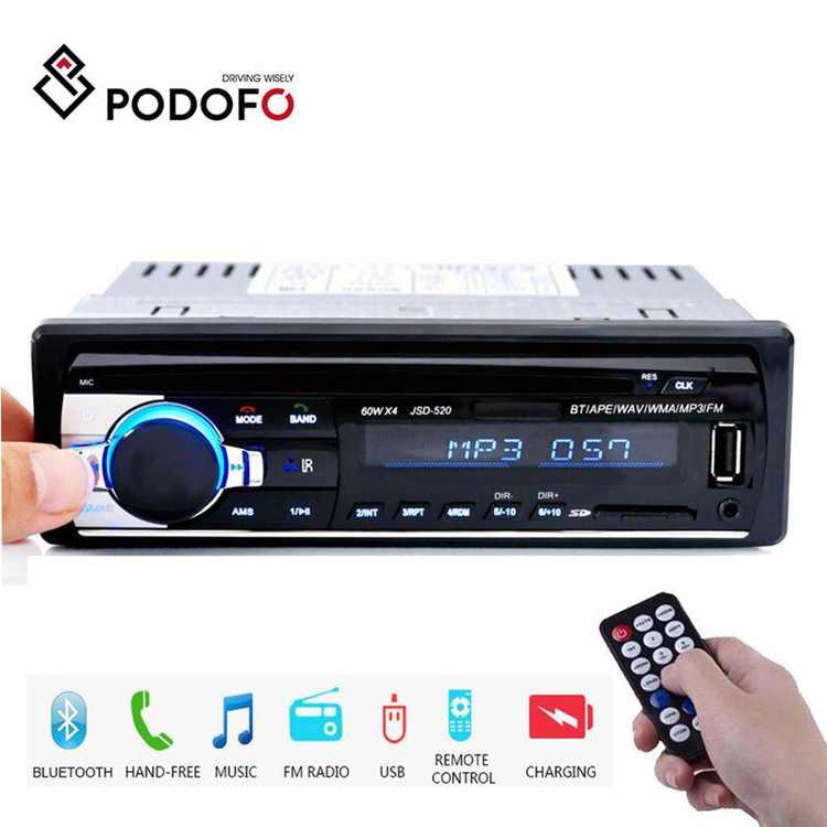 PODOFO 1DIN 12V In-Dash Car Radios Stereo Remote Control Digital Bluetooth Audio Music Stereo Car Radio Mp3 Player USB/SD/AUX-IN