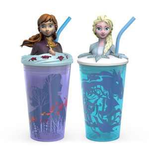 Zak Designs Kids Plastic 15 oz.Tumbler 2-Piece Set Disney Frozen 2 Elsa & Anna Funtastic Unique 3D Character on Lid Screw-On Lid Durable Straw Keeps Liquids In BPA-Free