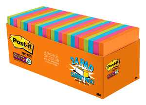 """Post-it Super Sticky Notes, 3"""" x 3"""", Rio de Janeiro Collection, 24 Pads"""