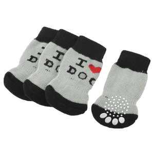 2 Pairs Gray Paw Letter Pattern Elastic Cuff Nonslip Pet Dog Yorkie Socks