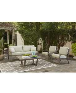 Tara Aluminum Outdoor 4-Pc. Seating Set (1 Sofa, 2 Club Chairs & 1 Coffee Table), with Sunbrella Cushions, Created for Macy's