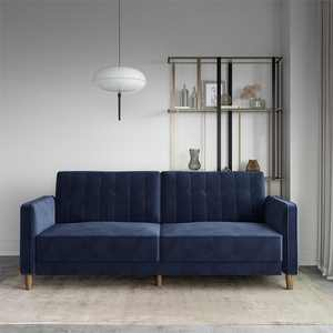 DHP Pin Tufted Transitional Futon, Blue Velvet