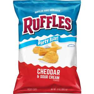 Ruffles Cheddar & Sour Cream Flavored Potato Chips, Party Size, 13 oz Bag