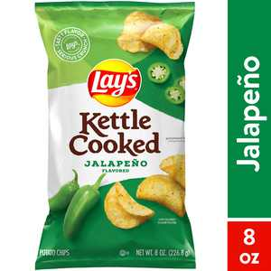 Lay's Kettle Cooked Potato Chips, Jalapeno, 8 oz Bag