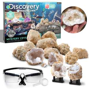 Discovery #Mindblown Geode Crystal Excavation Kit, 14-Piece Geology Stem Set, Discover Hidden Crystals, Includes 10 Geodes 2 Display Stands Goggles and Tools, Gifts for Children 6 and up