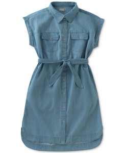 Cotton Chambray Shirtdress, Big Girls (7-16)