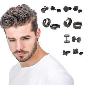 6 Pairs/set Stainless Steel Stud Earrings for Men Hoop Earrings Piercing Black Dumbbell Stud Earring Set