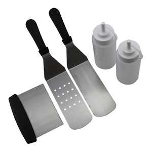 5Pcs Griddle Cooking Tool Kit, 2x Bottle(400ml), 2x Spatulas & 1x Chopper For Outdoor Barbecue Picnic, Long/Short Spatulas Set - Flat Top Grill Cooking Kit - Great for Outdoor BBQ, Teppanyaki, Camping