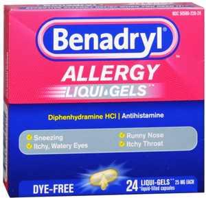 Benadryl Allergy Liqui-Gels Dye-Free 24 Liqui-Gels (Pack of 3)
