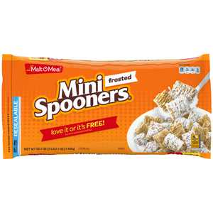 Malt-O-Meal Frosted Mini Spooners Whole Grain Breakfast Cereal, Frosted Shredded Wheat, Super Size Bulk Bagged Cereal, 50.1 Ounce - 1 count