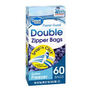 Great Value Fresh Seal Double Zipper Freezer Bags, Gallon, 60 Count