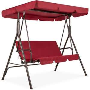 Best Choice Products 2-Person Outdoor Convertible Canopy Swing Glider Lounge Chair w/ Removable Cushions - Burgundy