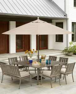 """Wayland Outdoor Aluminum 8-Pc. Dining Set (64"""" Square Dining Table, 6 Dining Chairs & 1 Bench) with Sunbrella Cushions, Created for Macy's"""