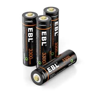 EBL 4-Pack 3300mWh 1.5V USB Lithium Rechargeable Batteries AA Li-Ion Battery with Micro USB Cable