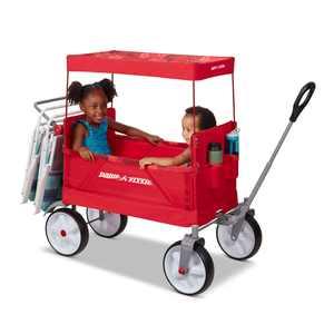 Radio Flyer, Beach & Boardwalk EZ Fold Wagon, Recycled Fabric, Red