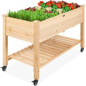 Best Choice Products Raised Garden Bed 48x24x32in Mobile Elevated Wood Planter w/ Lockable Wheels, Storage Shelf, Liner