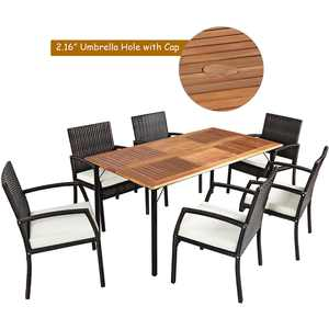 Costway 7PCS Patio Rattan Dining Set Chair Wooden Table Top W/Umbrella Hole