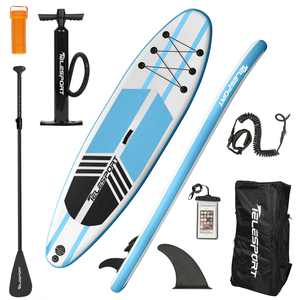 Telesport Inflatable Stand Up Paddle Board Dimension 10.6'x32''x6''(Blue+White)