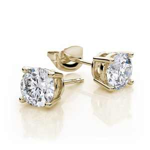 10k Yellow Gold Created White Sapphire 4 Carat Round Stud Earrings Plated