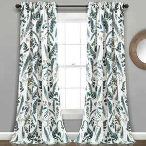 "Lush Decor Devonia Allover Room Darkening 84"" x 52"" + 2"" Header Nature White 100% Polyester 3"" Rod Pocket Pair Window Panel"