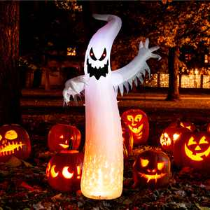 WONDER garden 8 Ft Halloween Inflatables Scary Ghost with Fire Color LEDs Outdoor Decorations, Blow Up Yard Decoration for Holiday /Party/Yard/Garden