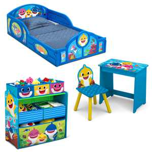 Baby Shark 4-Piece Room-in-a-Box Bedroom Set by Delta Children - Includes Sleep & Play Toddler Bed, 6 Bin Design & Store Toy Organizer and Art Desk with Chair
