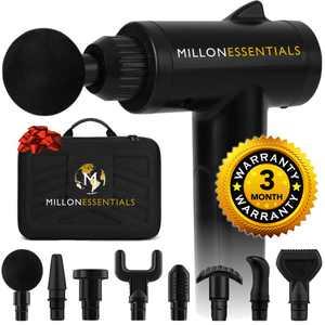 MillonEssentials V4SHARK Deep Tissue Massage Gun - #1 Muscle Percussion Massager - 6 Speeds - 8 Heads