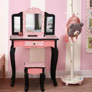 Ktaxon Kid's Wooden Vanity Table and Stool Set with 3 Mirrors, Princess Makeup Dressing Table, Children's Furniture