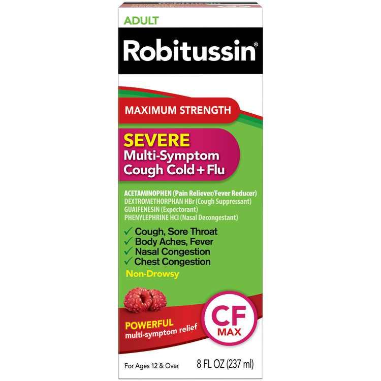 Robitussin Adult Max Strength Severe Cough Cold and Flu Liquid Medicine, 8 Fl Oz