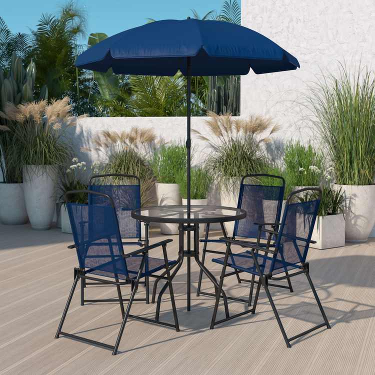 Flash Furniture 6 Piece Navy Patio Garden Set with Umbrella Table and Set of 4 Folding Chairs