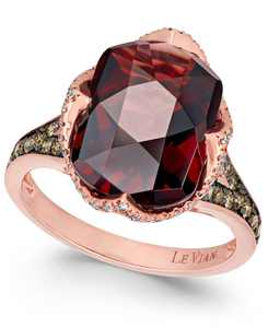 Chocolatier Pomegranate Garnet (6-9/10 ct. t.w.) and Diamond (3/8 ct. t.w.) Ring in 14k Rose Gold (Also Available In London Blue Topaz)