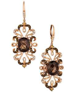 Crazy Collection Multi-Gemstone(9-1/4 cttw) Drop Earrings in 14k Rose Gold