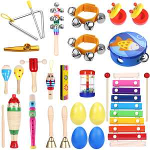 iBaseToy Percussion Set Kids Children Toddlers Musical Toys Band Rhythm Kit Instruments for Preschool Educational Tools (23pcs)