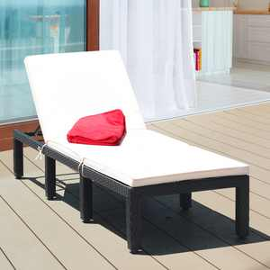 Costway Costway Patio Rattan Lounge Chair Chaise Couch Cushioned Height Adjustable Pool Garden