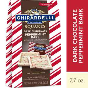GHIRARDELLI Dark Chocolate Peppermint Bark Chocolate Squares, Layered Dark Chocolate and White Chocolate Candy, 7.7 OZ Bag