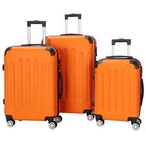 Zimtown Orange 3 Pieces Travel Luggage Set Bag ABS Trolley Carry On Suitcase TSA Lock